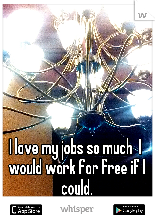 I love my jobs so much  I would work for free if I could.