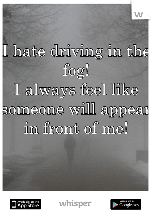 I hate driving in the fog!  I always feel like someone will appear in front of me!