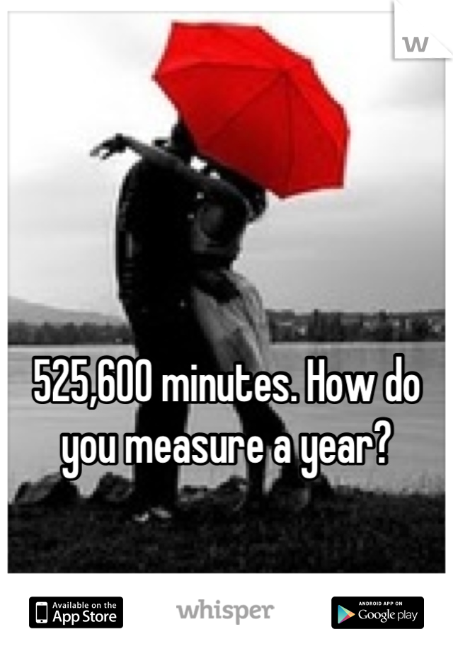525,600 minutes. How do you measure a year?