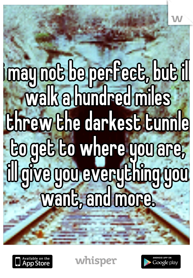 i may not be perfect, but ill walk a hundred miles threw the darkest tunnle to get to where you are, ill give you everything you want, and more.