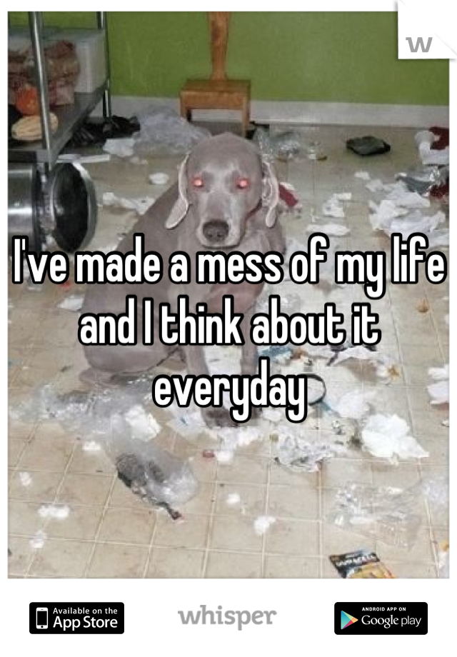 I've made a mess of my life and I think about it everyday