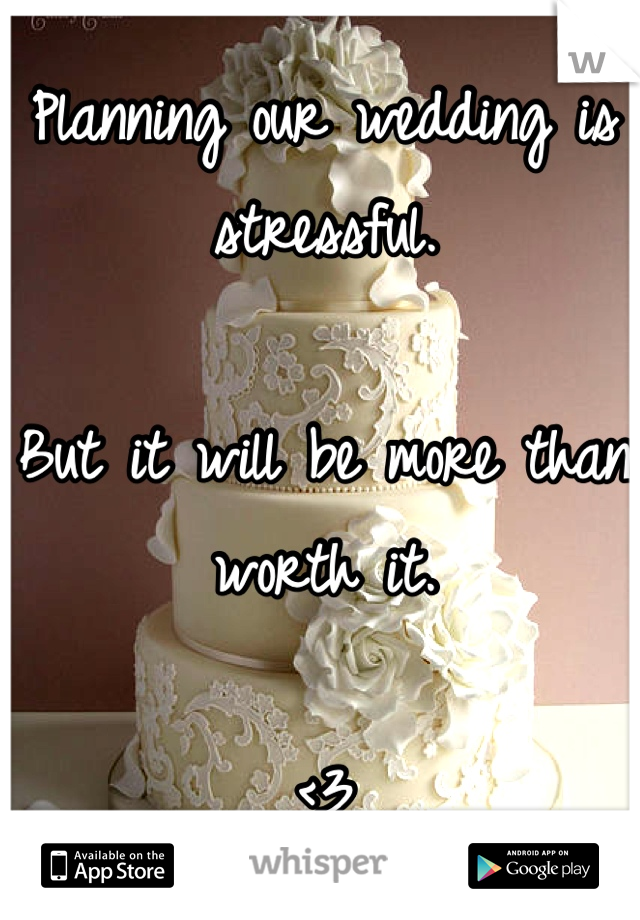 Planning our wedding is stressful.  But it will be more than worth it.   <3