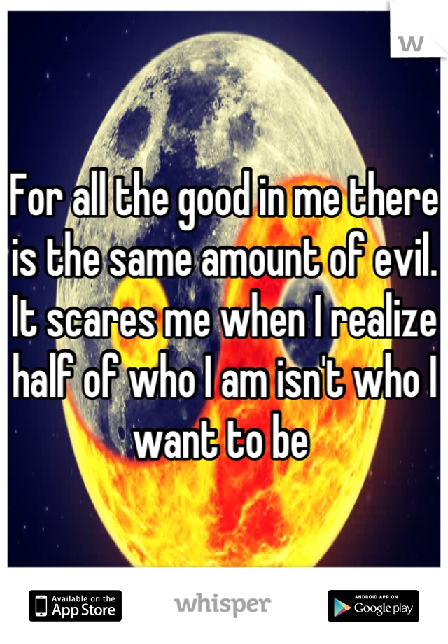 For all the good in me there is the same amount of evil. It scares me when I realize  half of who I am isn't who I want to be