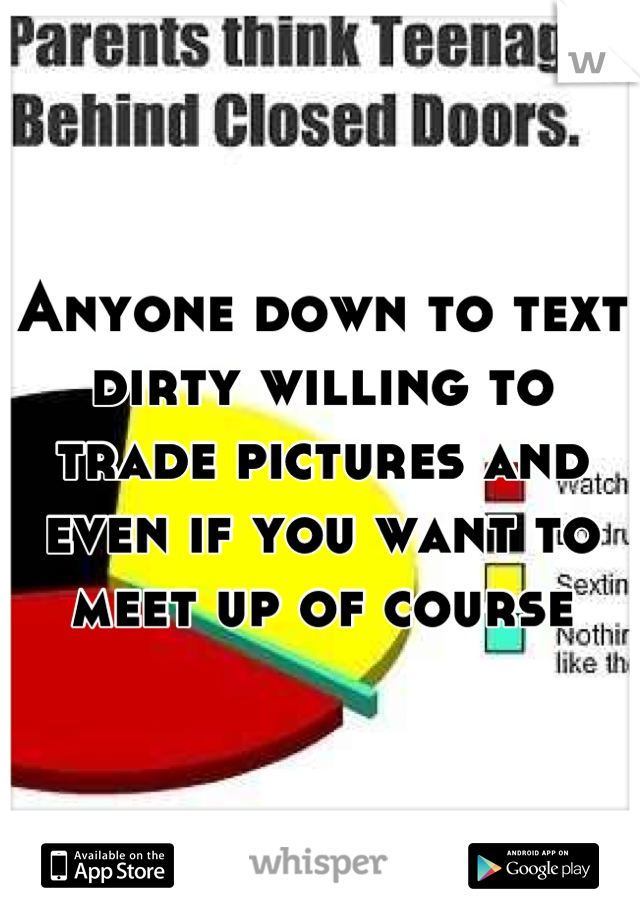 Anyone down to text dirty willing to trade pictures and even if you want to meet up of course