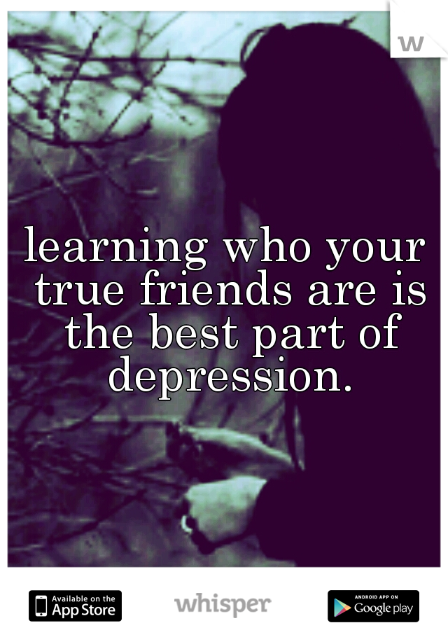 learning who your true friends are is the best part of depression.