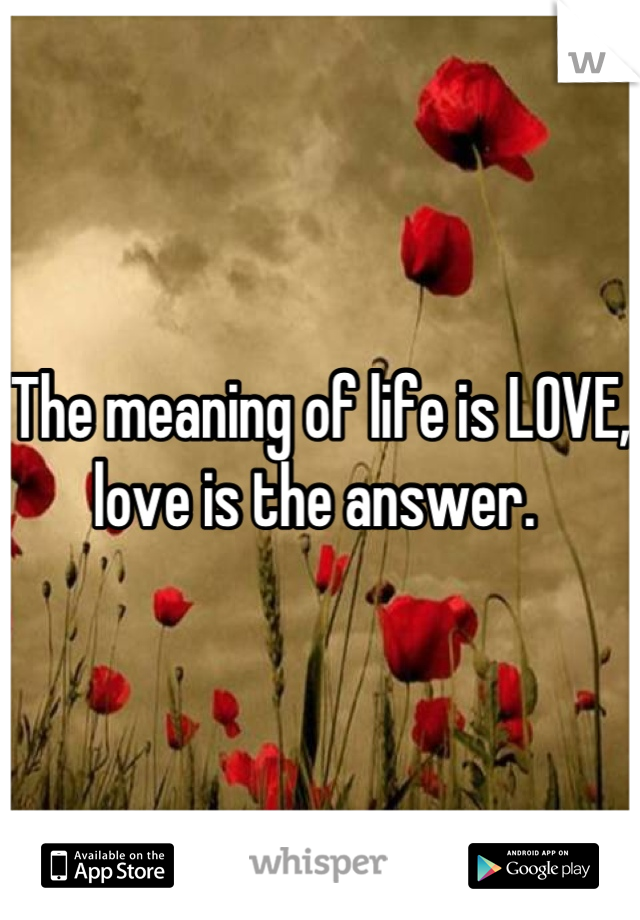 The meaning of life is LOVE, love is the answer.