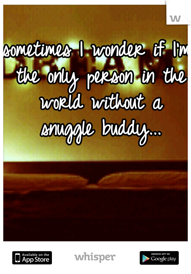 sometimes I wonder if I'm the only person in the world without a snuggle buddy...