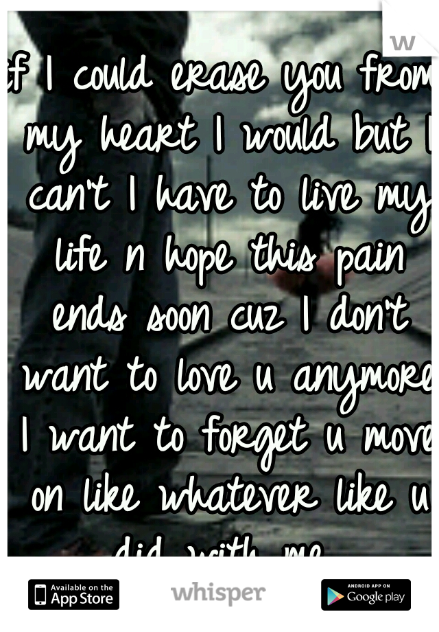 if I could erase you from my heart I would but I can't I have to live my life n hope this pain ends soon cuz I don't want to love u anymore I want to forget u move on like whatever like u did with me