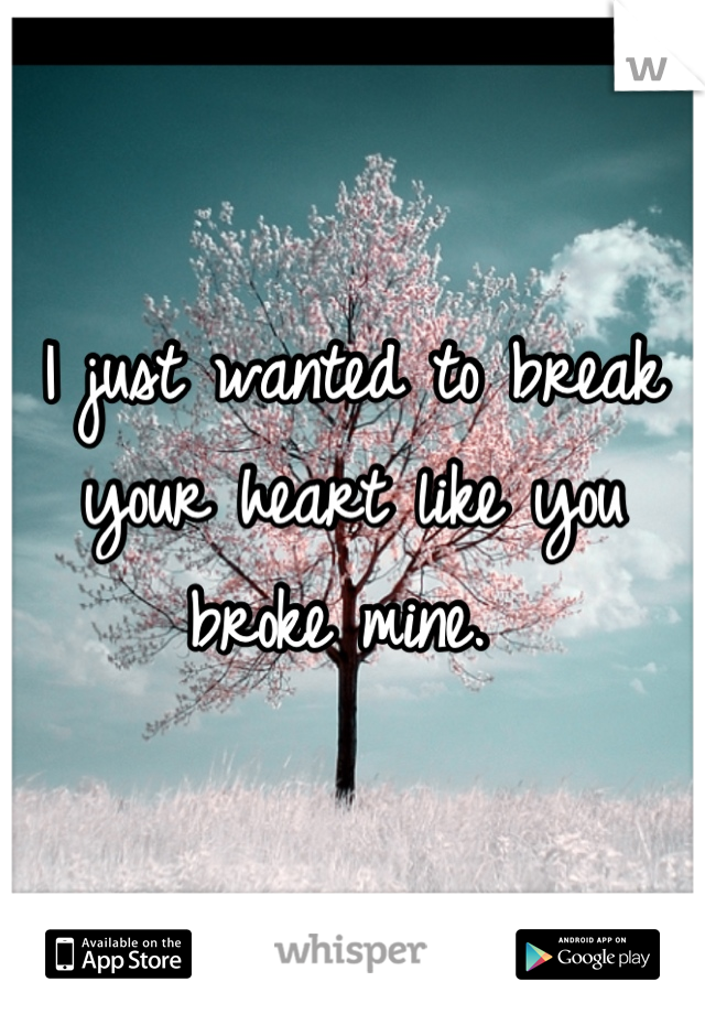 I just wanted to break your heart like you broke mine.