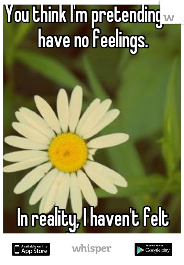 You think I'm pretending to have no feelings.       In reality, I haven't felt anything in years.
