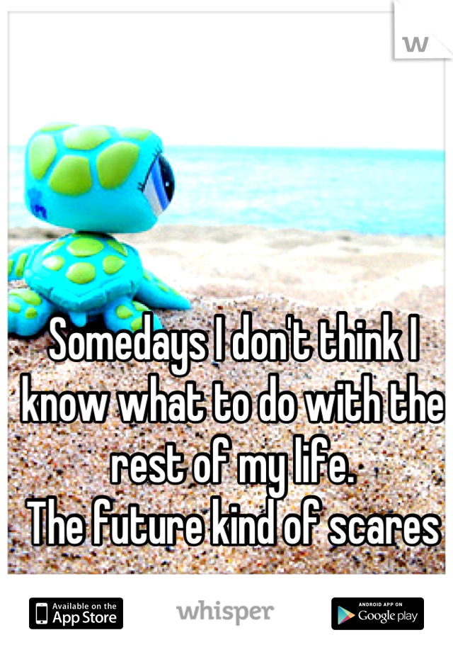 Somedays I don't think I know what to do with the rest of my life. The future kind of scares me...