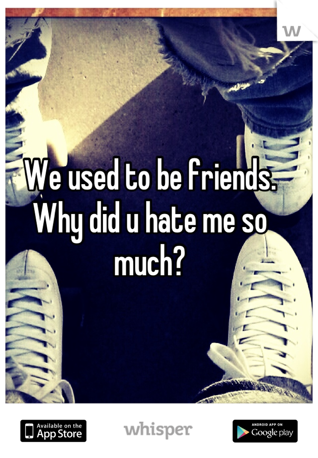 We used to be friends. Why did u hate me so much?