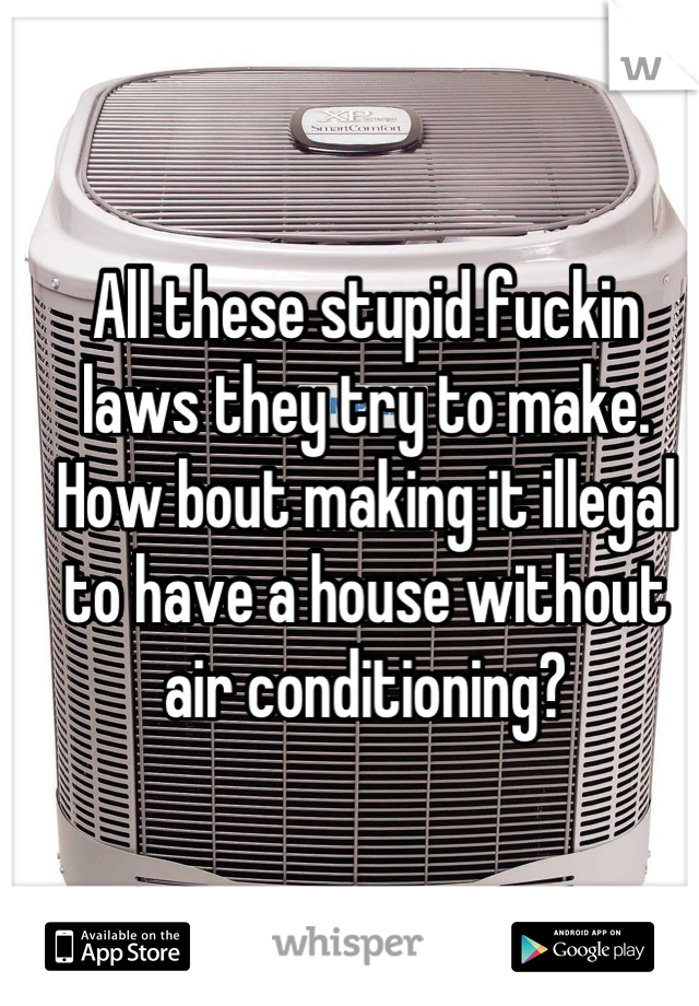 All these stupid fuckin laws they try to make. How bout making it illegal to have a house without air conditioning?