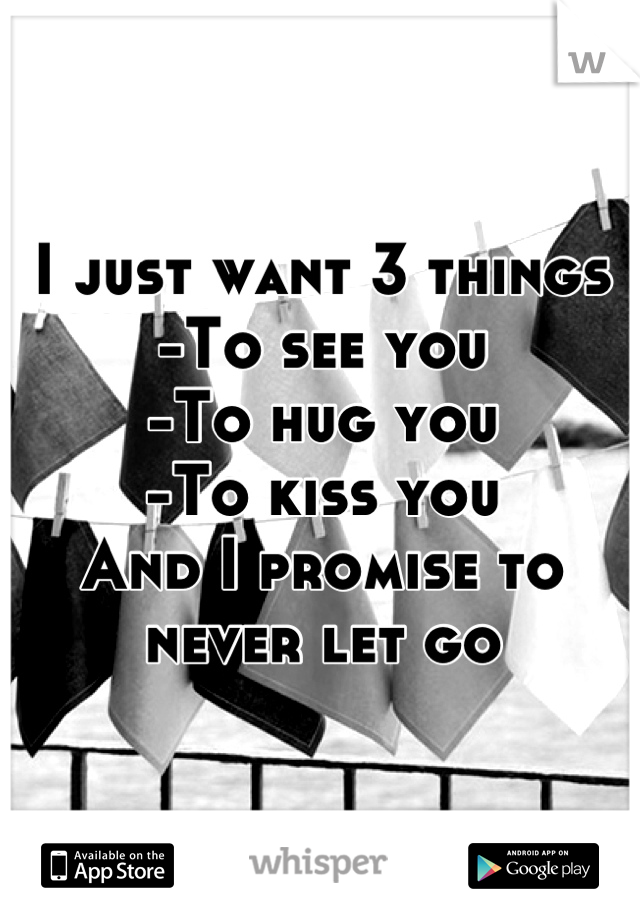 I just want 3 things -To see you -To hug you -To kiss you  And I promise to never let go