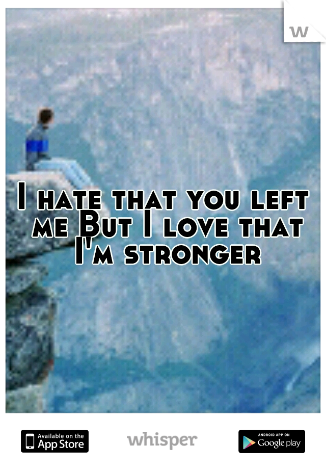 I hate that you left me But I love that I'm stronger