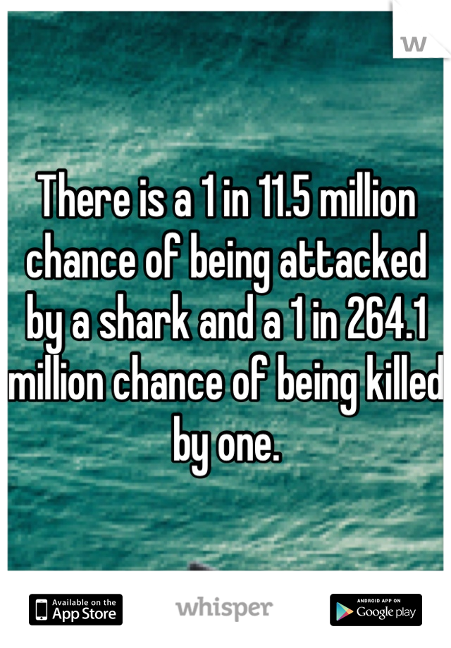 There is a 1 in 11.5 million chance of being attacked by a shark and a 1 in 264.1 million chance of being killed by one.