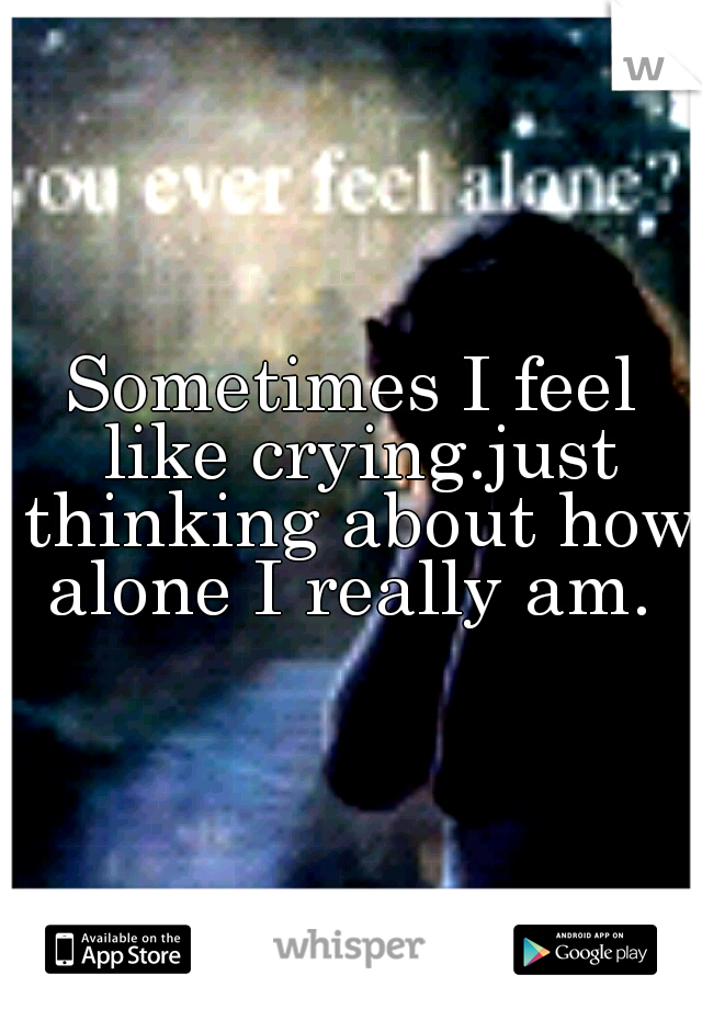 Sometimes I feel like crying.just thinking about how alone I really am.
