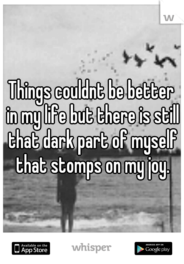 Things couldnt be better in my life but there is still that dark part of myself that stomps on my joy.