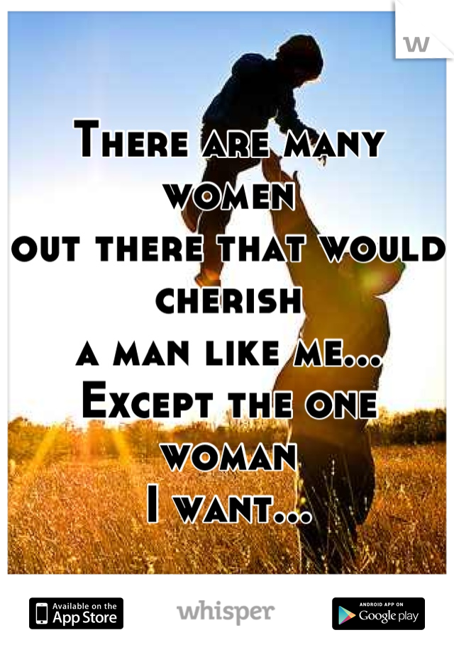 There are many women out there that would cherish a man like me... Except the one woman I want...