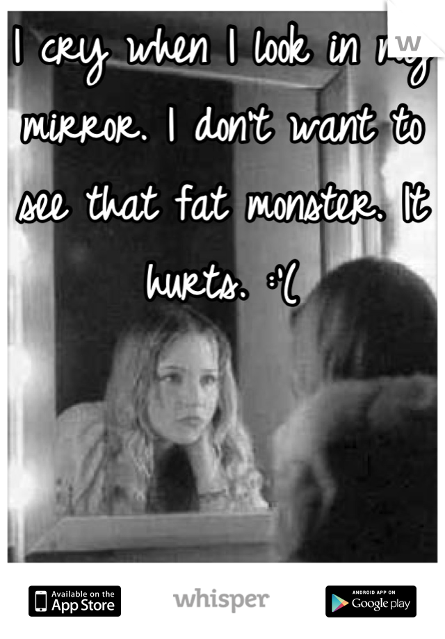 I cry when I look in my mirror. I don't want to see that fat monster. It hurts. :'(