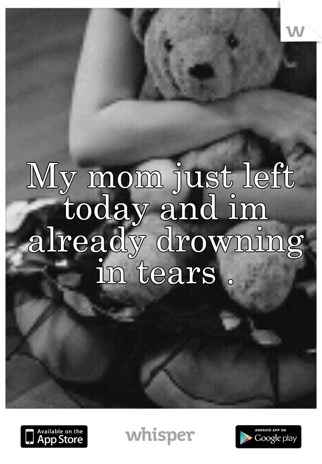 My mom just left today and im already drowning in tears .