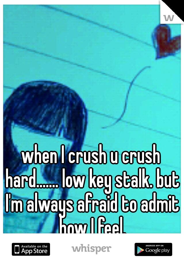 when I crush u crush hard....... low key stalk. but I'm always afraid to admit how I feel.