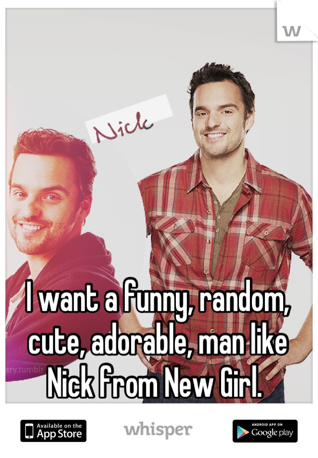 I want a funny, random, cute, adorable, man like Nick from New Girl.