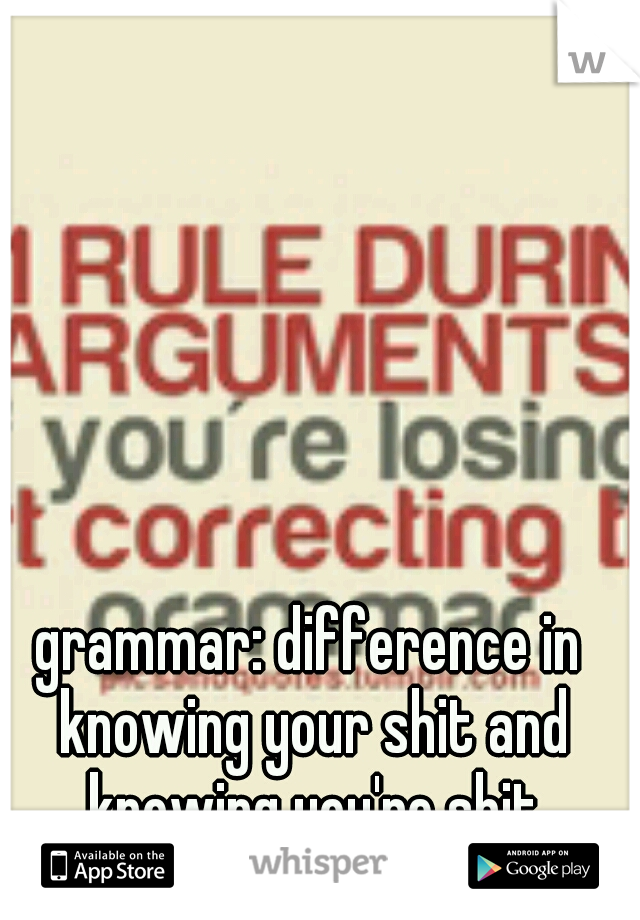 grammar: difference in knowing your shit and knowing you're shit
