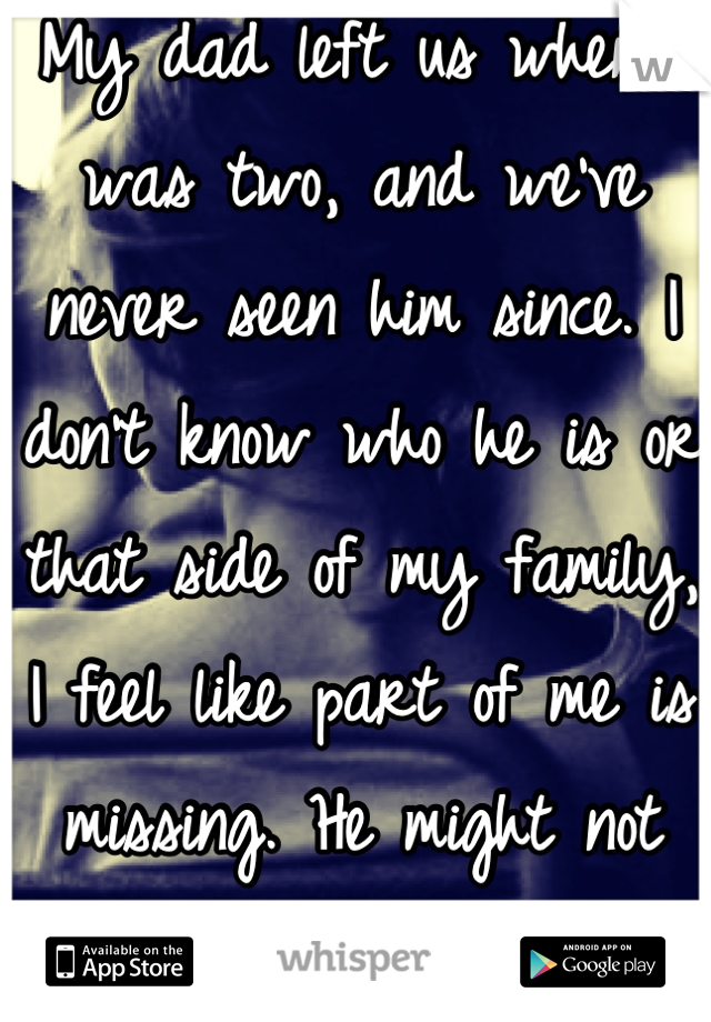 My dad left us when I was two, and we've never seen him since. I don't know who he is or that side of my family, I feel like part of me is missing. He might not even be alive anymore.