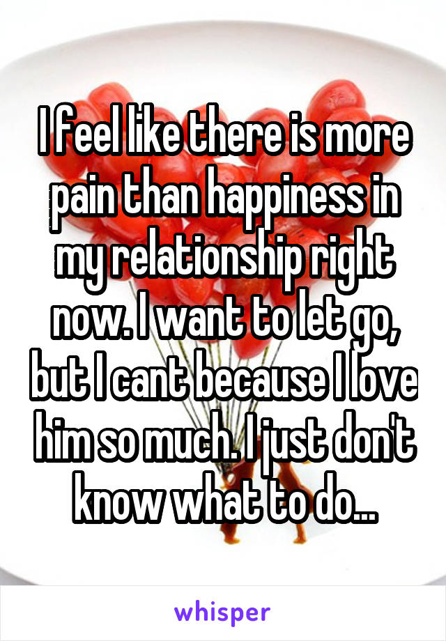 I feel like there is more pain than happiness in my relationship right now. I want to let go, but I cant because I love him so much. I just don't know what to do...