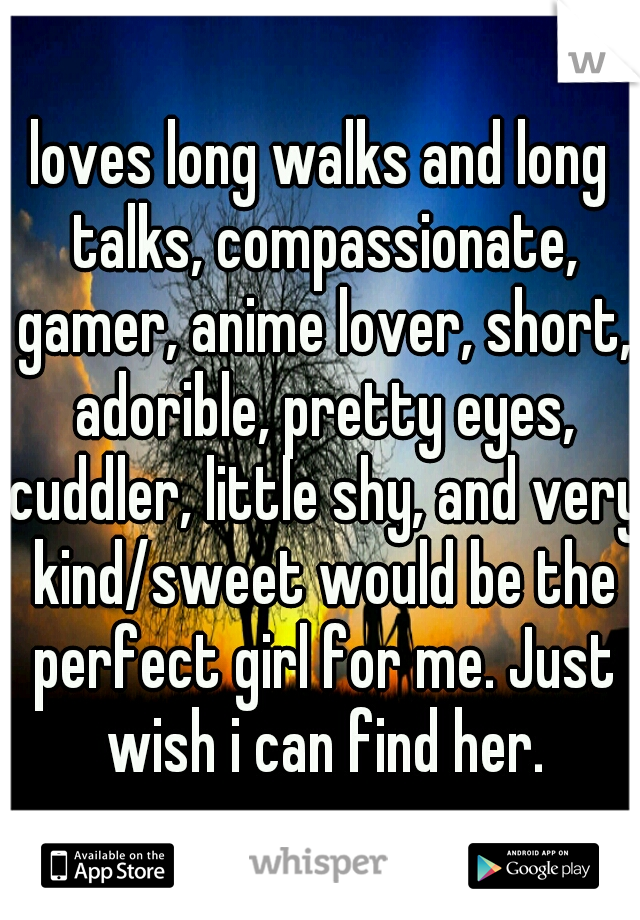 loves long walks and long talks, compassionate, gamer, anime lover, short, adorible, pretty eyes, cuddler, little shy, and very kind/sweet would be the perfect girl for me. Just wish i can find her.