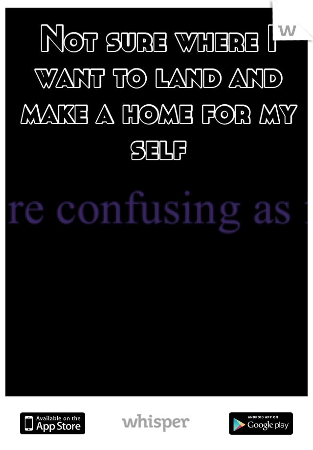 Not sure where I want to land and make a home for my self