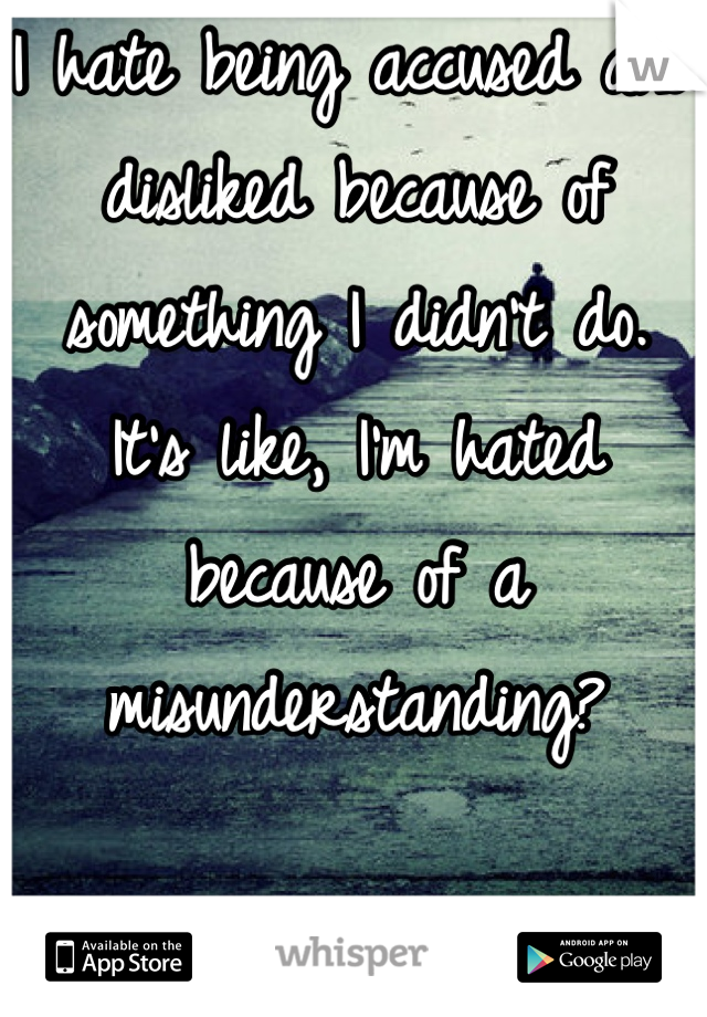 I hate being accused and disliked because of something I didn't do.  It's like, I'm hated because of a misunderstanding?  It honestly hurts me.
