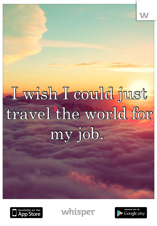 I wish I could just travel the world for my job.