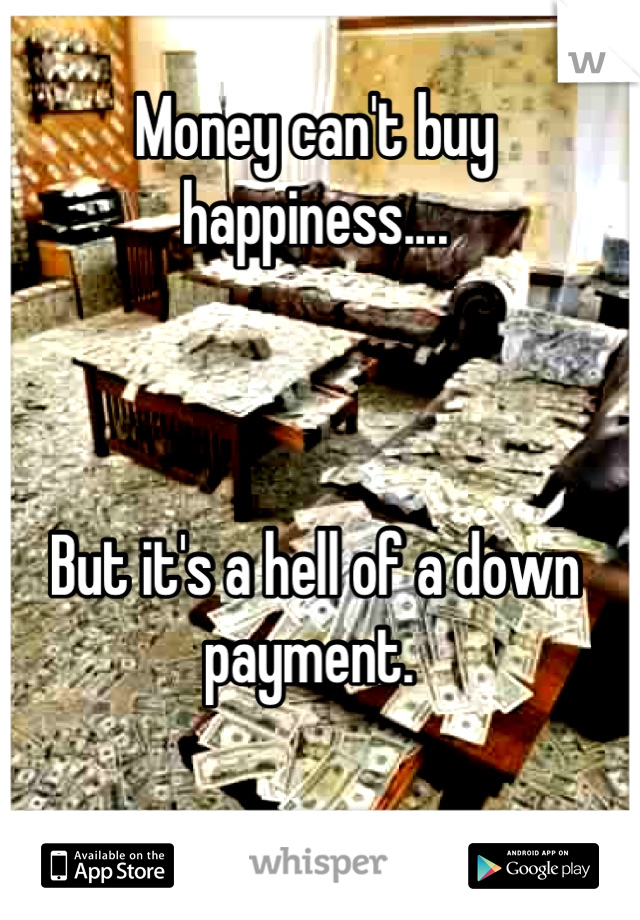 Money can't buy happiness....    But it's a hell of a down payment.