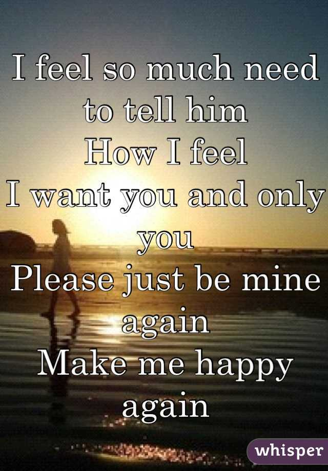 I feel so much need to tell him How I feel I want you and only you  Please just be mine again Make me happy again