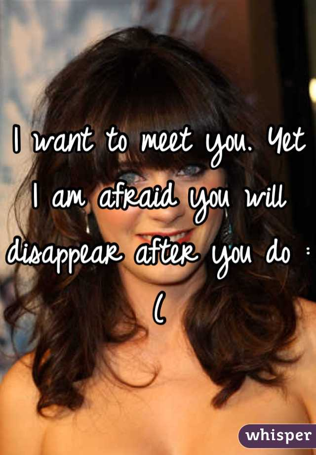 I want to meet you. Yet I am afraid you will disappear after you do :(