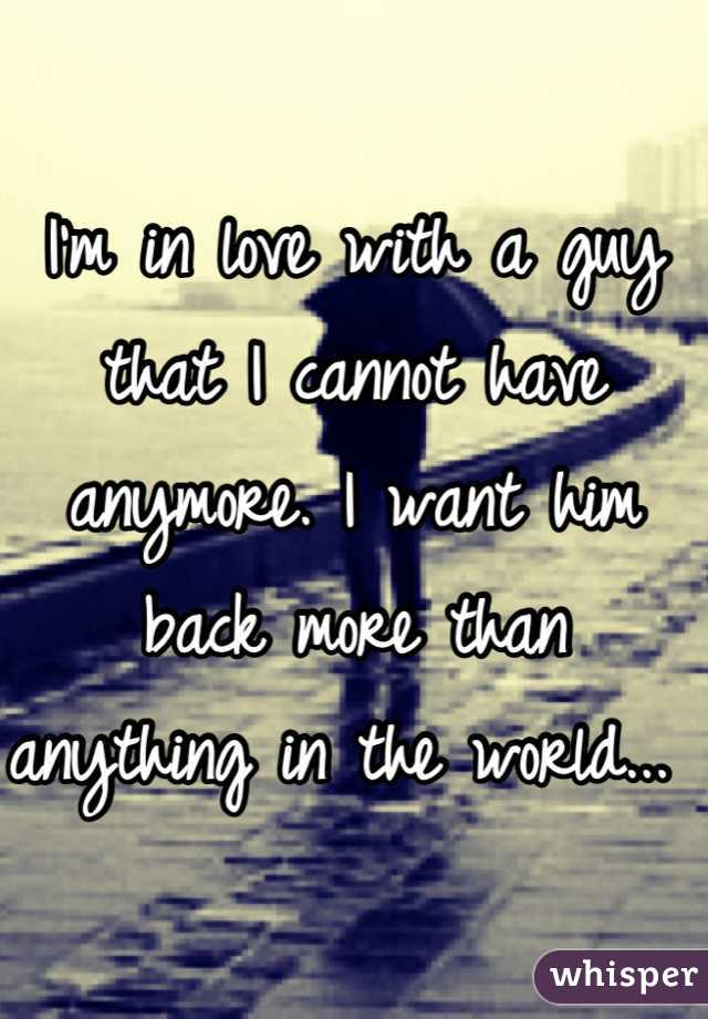 I'm in love with a guy that I cannot have anymore. I want him back more than anything in the world...