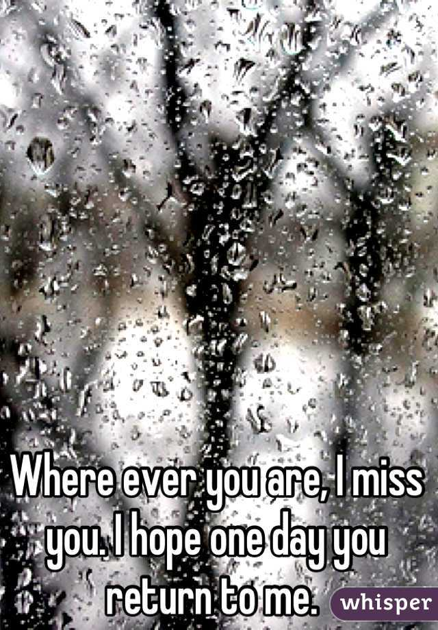 Where ever you are, I miss you. I hope one day you return to me.
