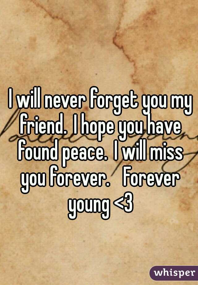 I will never forget you my friend. I hope you have found peace. I will miss you forever.  Forever young <3