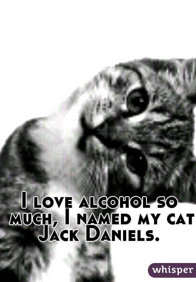 I love alcohol so much, I named my cat Jack Daniels.