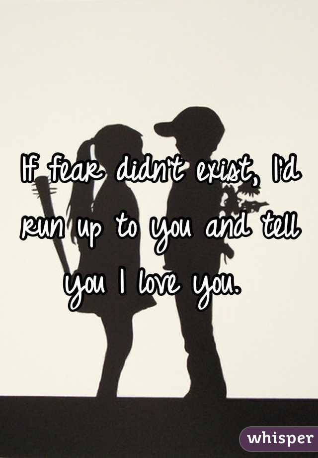 If fear didn't exist, I'd run up to you and tell you I love you.