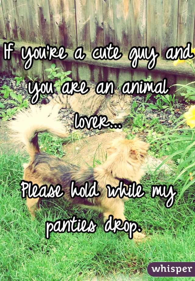 If you're a cute guy and you are an animal lover...  Please hold while my panties drop.