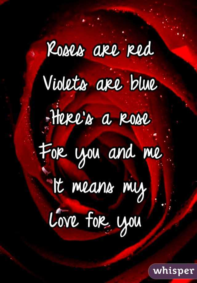 Roses are red Violets are blue Here's a rose For you and me It means my  Love for you