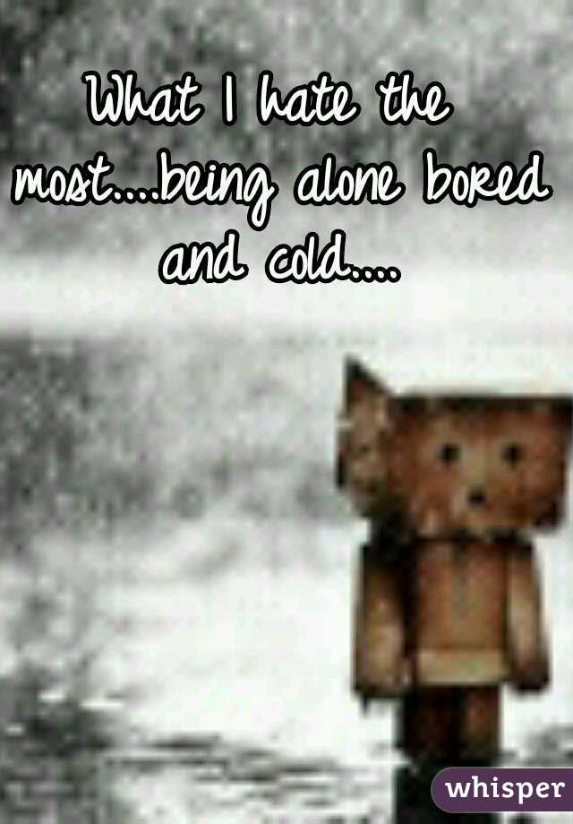 What I hate the most....being alone bored and cold....