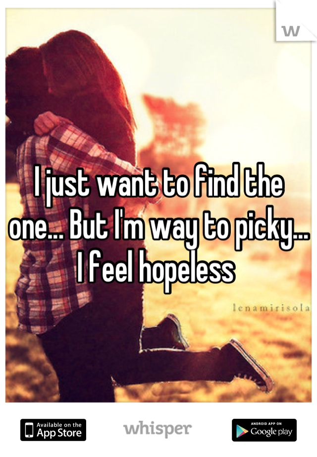 I just want to find the one... But I'm way to picky... I feel hopeless