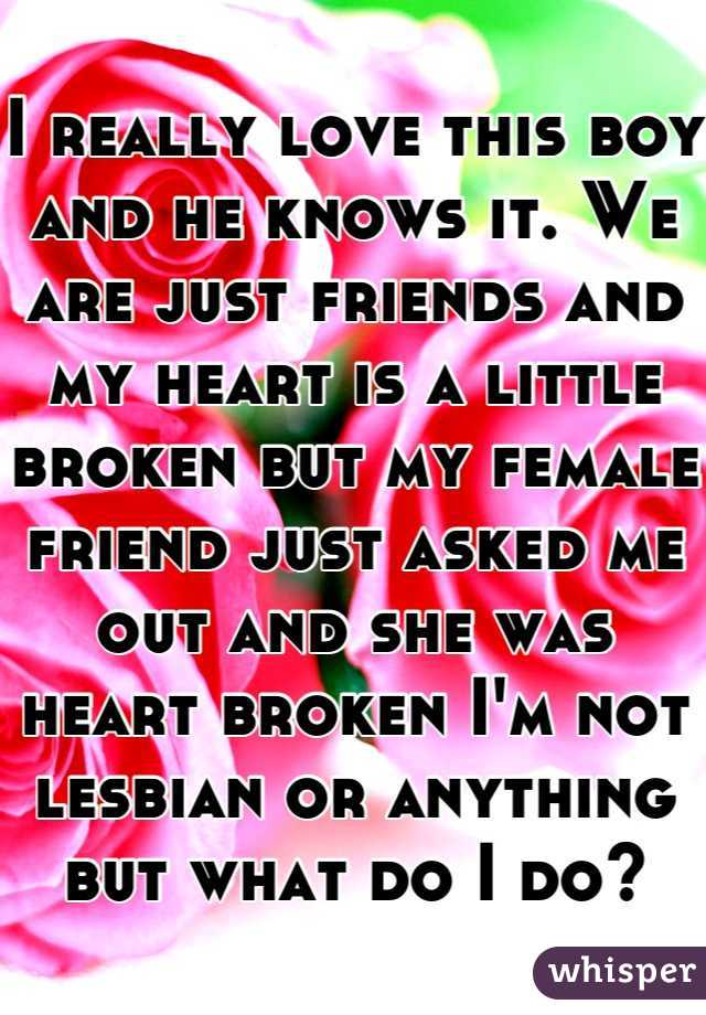 I really love this boy and he knows it. We are just friends and my heart is a little broken but my female friend just asked me out and she was heart broken I'm not lesbian or anything but what do I do?