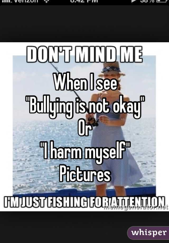 "When I see  ""Bullying is not okay"" Or  ""I harm myself"" Pictures"