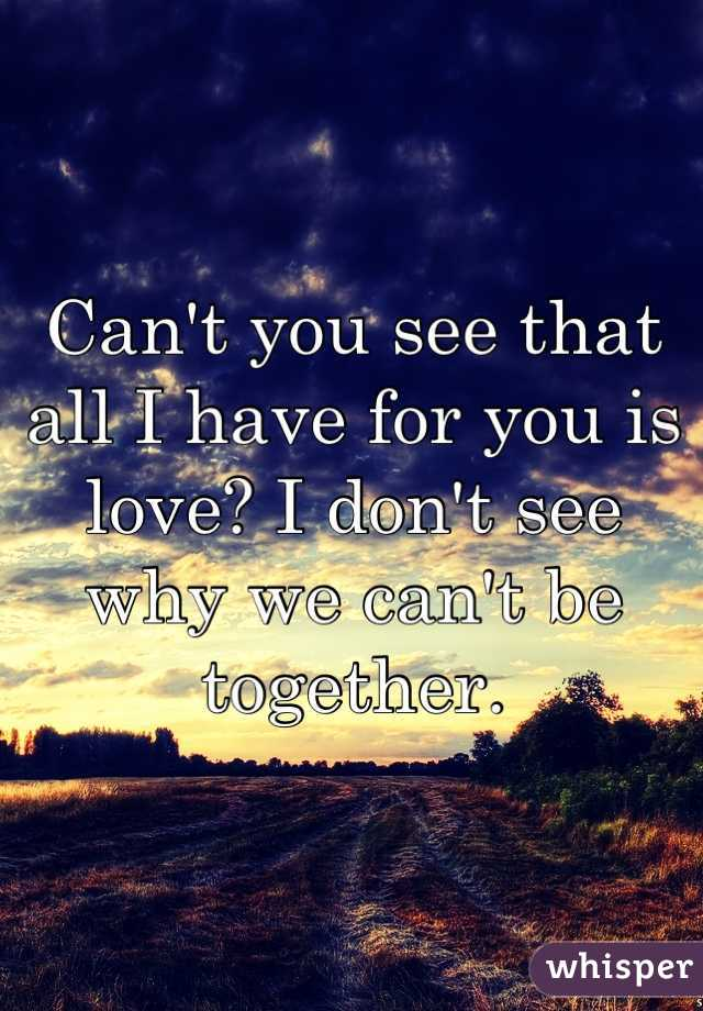 Can't you see that all I have for you is love? I don't see why we can't be together.
