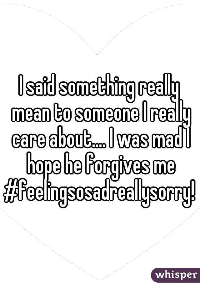 I said something really mean to someone I really care about.... I was mad I hope he forgives me #feelingsosadreallysorry!